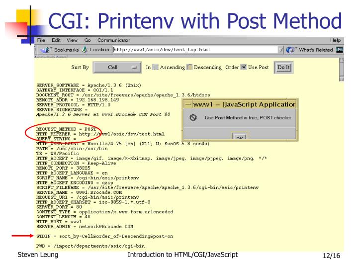CGI: Printenv with Post Method