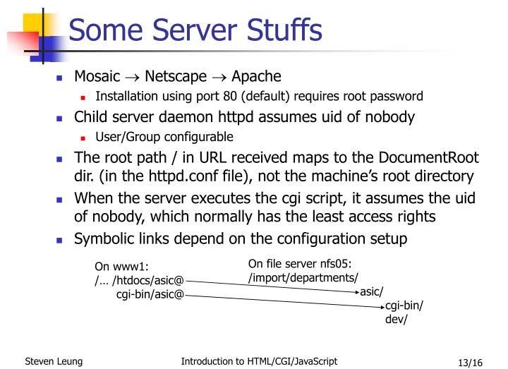 Some Server Stuffs