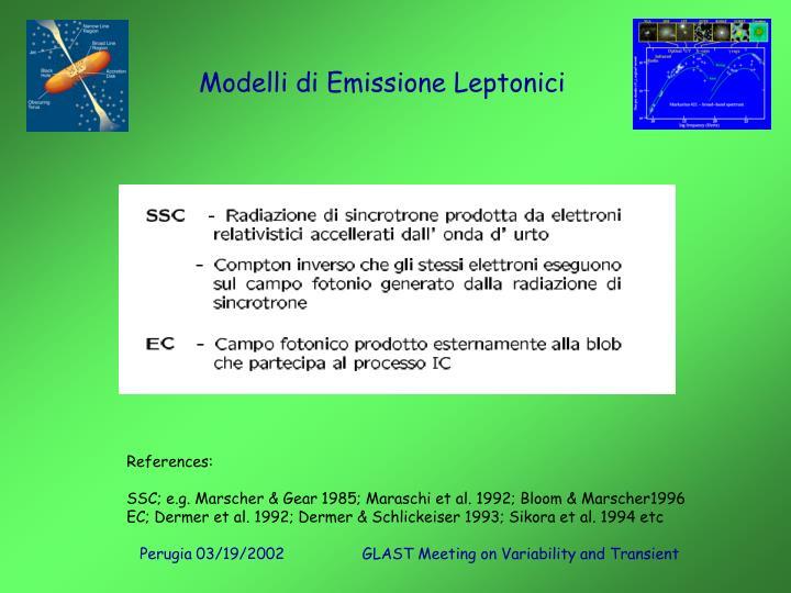 Modelli di Emissione Leptonici