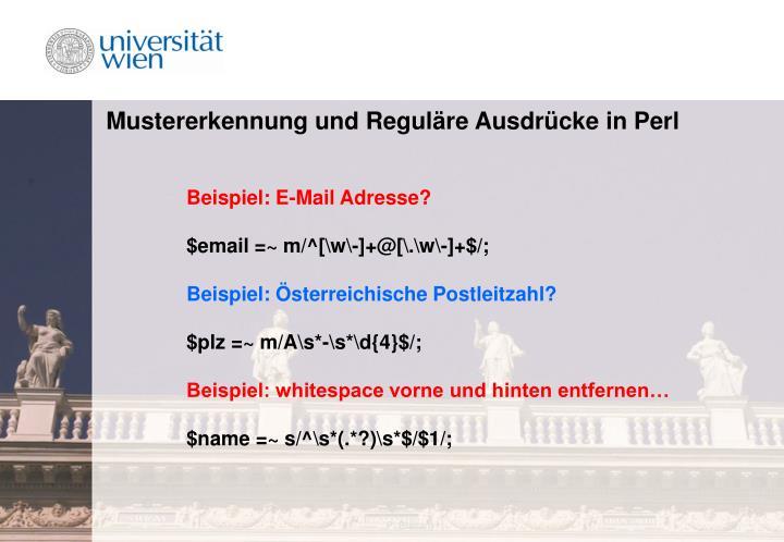 Mustererkennung und Reguläre Ausdrücke in Perl