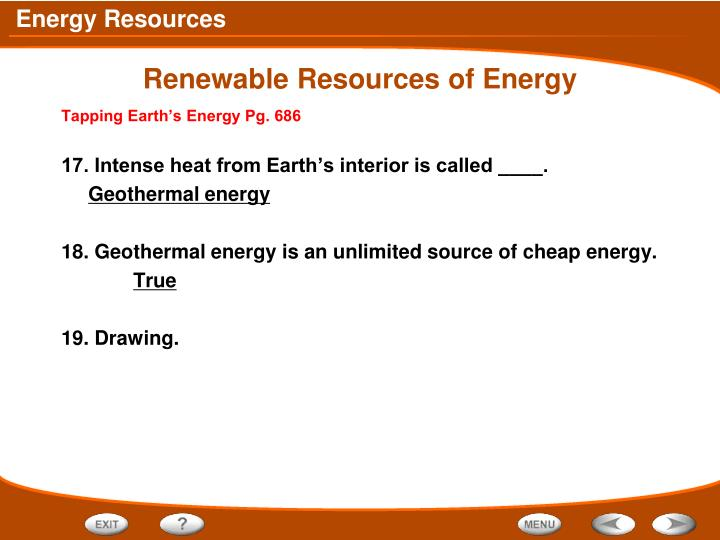 Renewable Resources of Energy