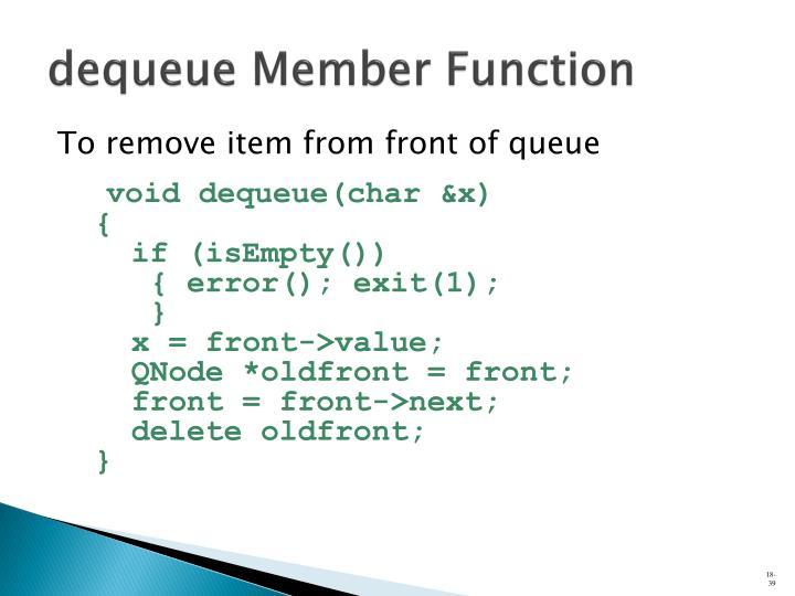 dequeue Member Function