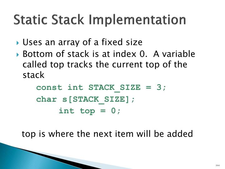 Static Stack Implementation