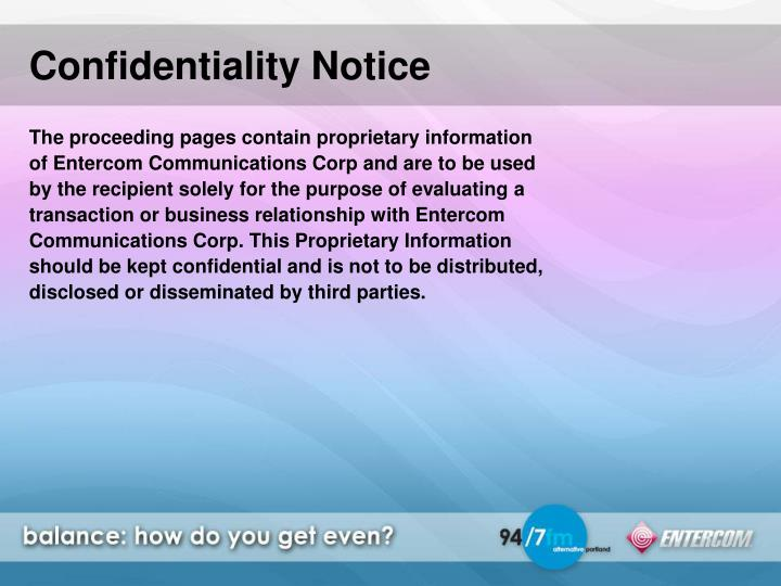 Confidentiality Notice