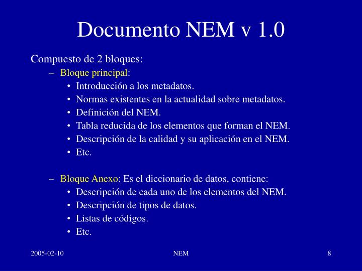 Documento NEM v 1.0