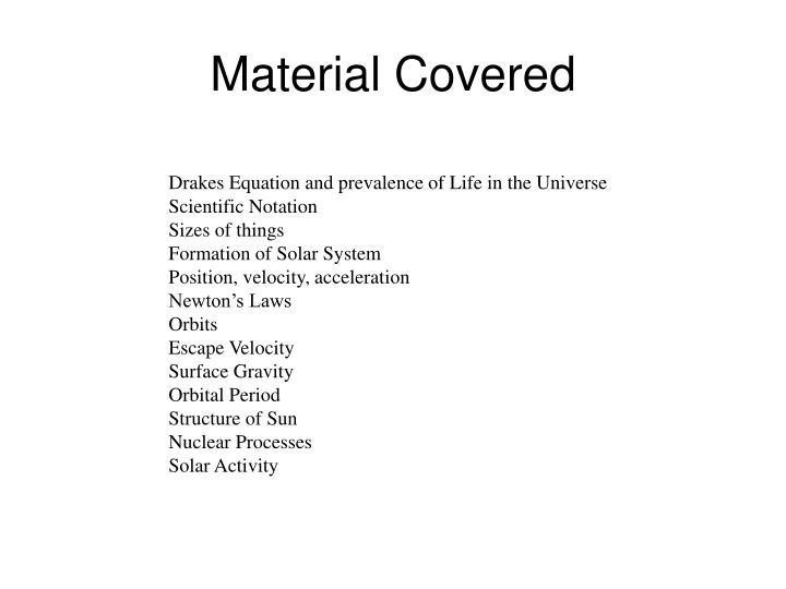 Material Covered