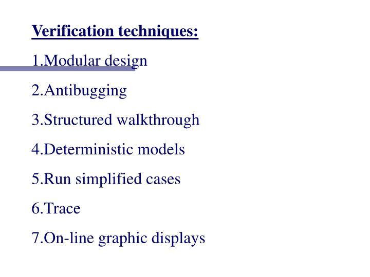 Verification techniques: