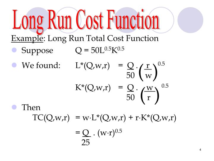 Long Run Cost Function