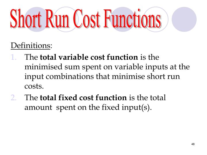 Short Run Cost Functions