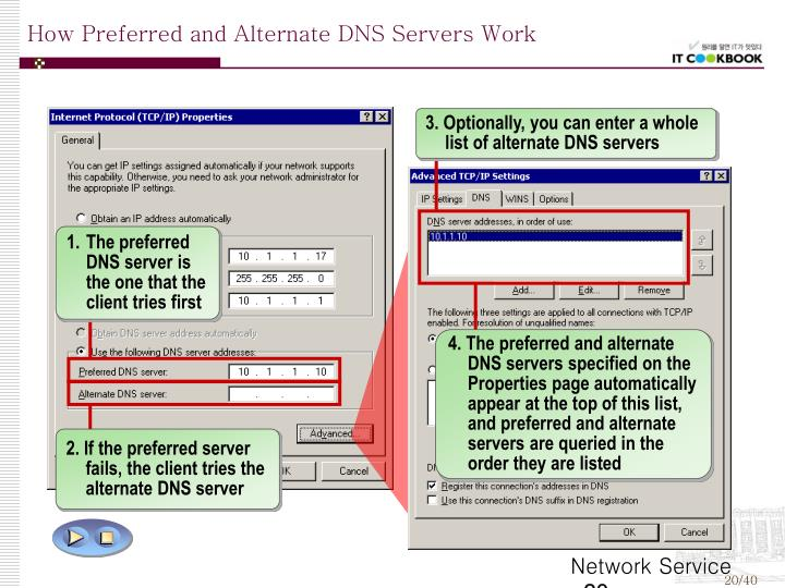 3. Optionally, you can enter a whole list of alternate DNS servers
