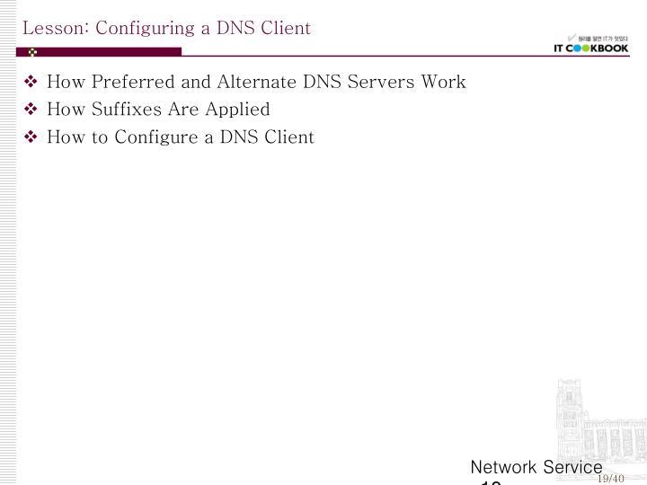 Lesson: Configuring a DNS Client