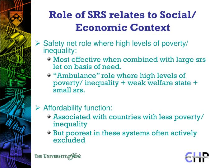 Role of SRS relates to Social/ Economic Context