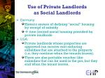 use of private landlords as social landlords