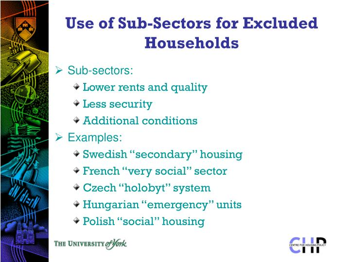 Use of Sub-Sectors for Excluded Households