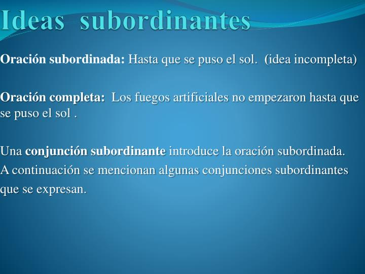 Ideas subordinantes