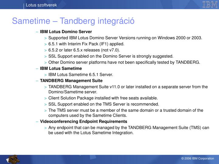 Sametime – Tandberg integráció