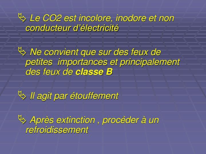 Le CO2 est incolore, inodore et non conducteur d'électricité