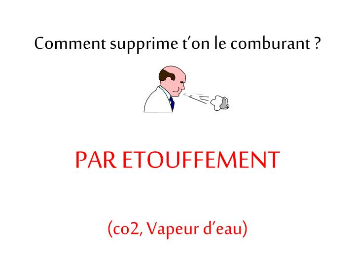 Comment supprime t'on le comburant ?