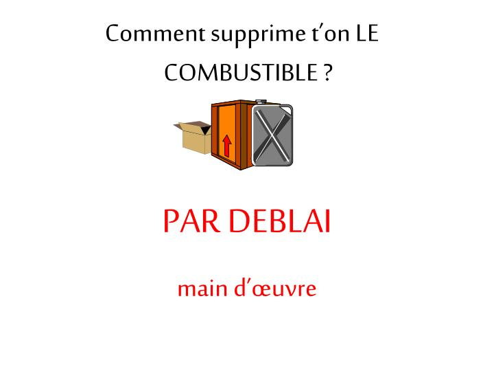 Comment supprime t'on LE COMBUSTIBLE ?