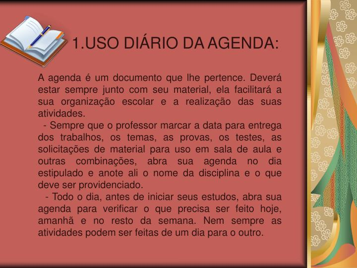 1.USO DIÁRIO DA AGENDA: