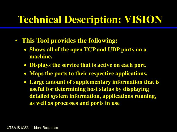 Technical Description: VISION