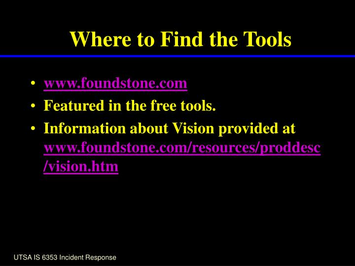 Where to Find the Tools