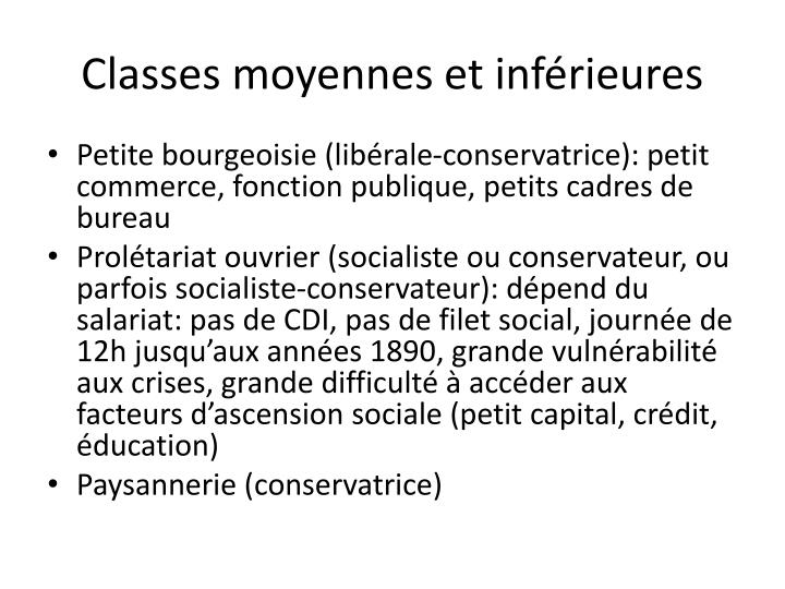 Classes moyennes et inférieures