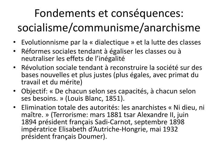 Fondements et conséquences: socialisme/communisme/anarchisme