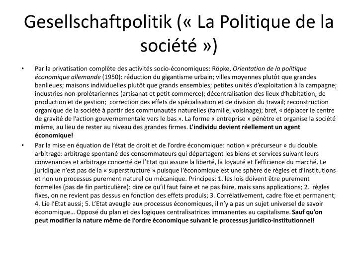 Gesellschaftpolitik