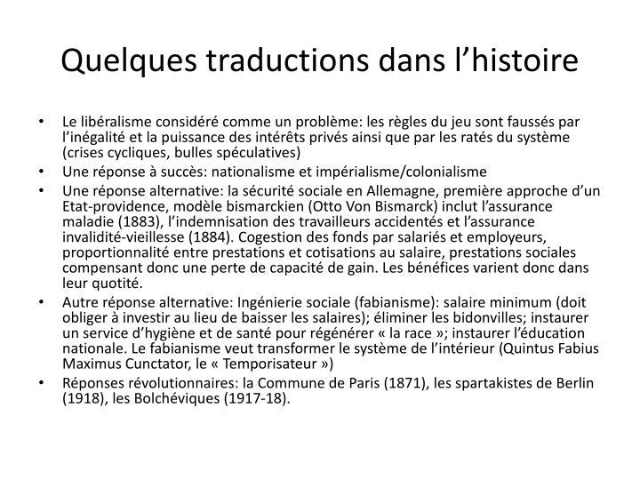 Quelques traductions dans l'histoire