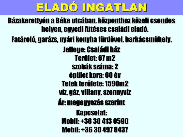 ELADÓ INGATLAN