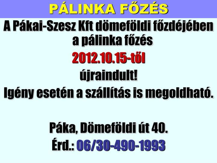 PÁLINKA FŐZÉS