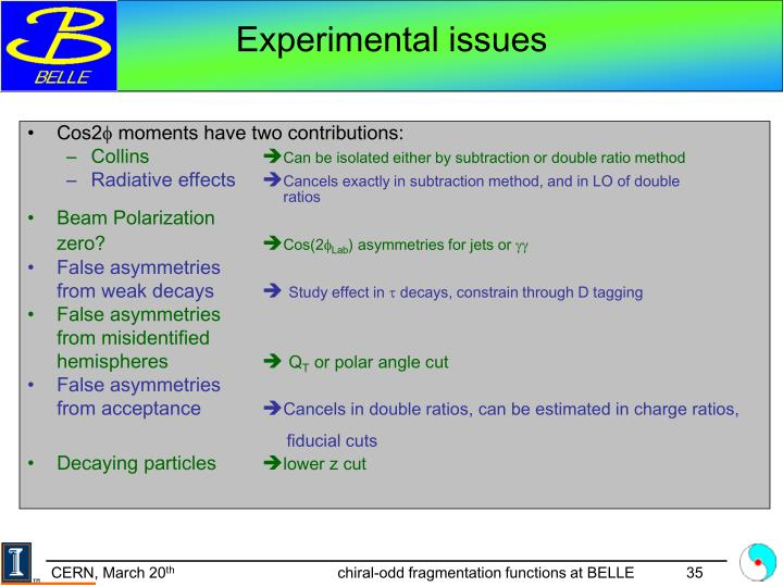 Experimental issues
