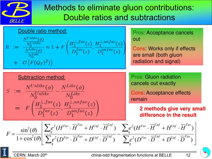 Methods to eliminate gluon contributions: Double ratios and subtractions