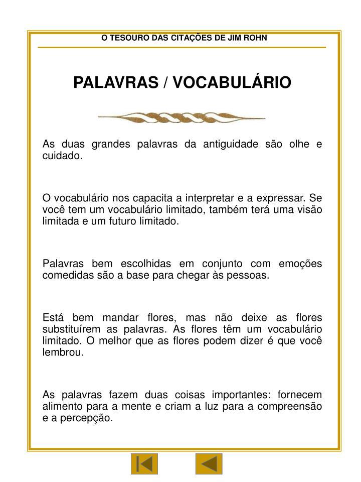 PALAVRAS / VOCABULÁRIO