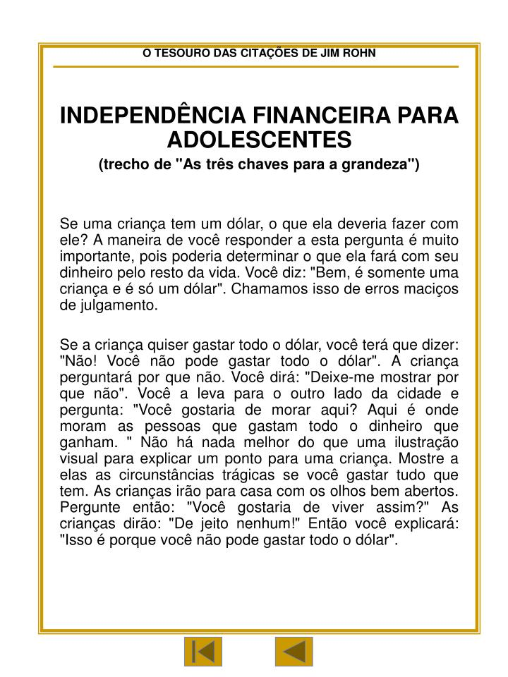 INDEPENDÊNCIA FINANCEIRA PARA ADOLESCENTES