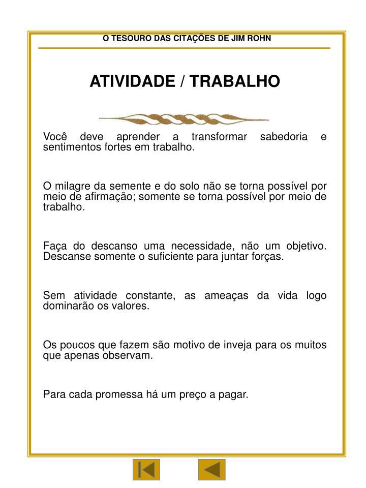 ATIVIDADE / TRABALHO