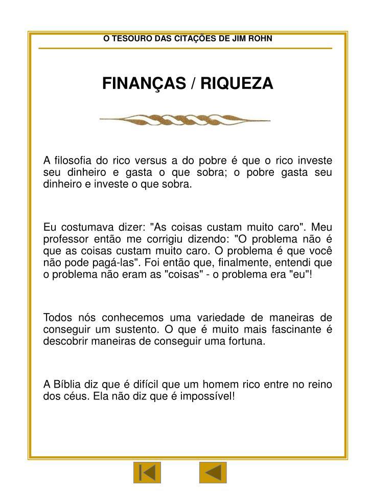 FINANÇAS / RIQUEZA