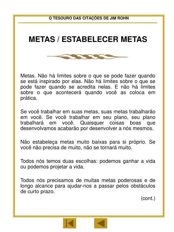 METAS / ESTABELECER METAS