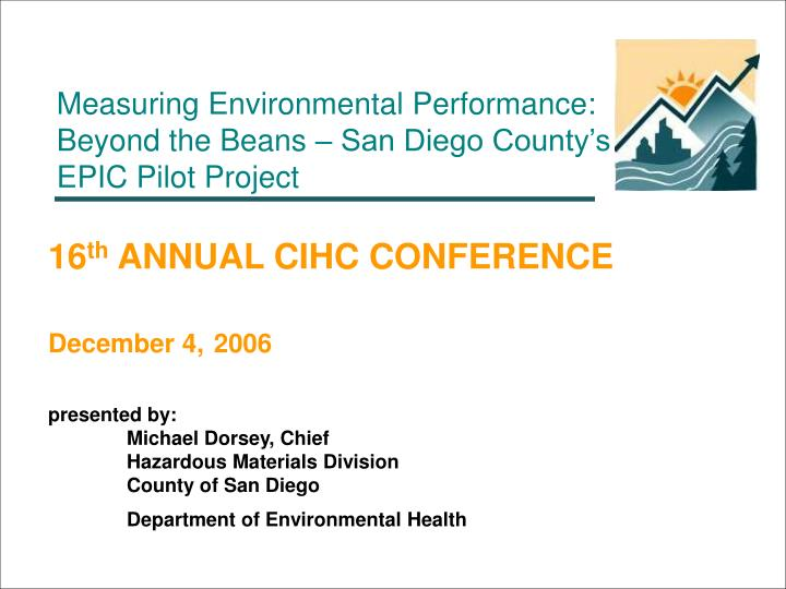 Measuring Environmental Performance: