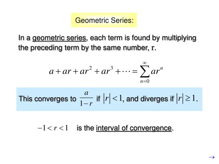 This converges to          if           , and diverges if           .