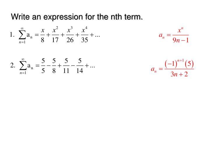 Write an expression for the nth term.