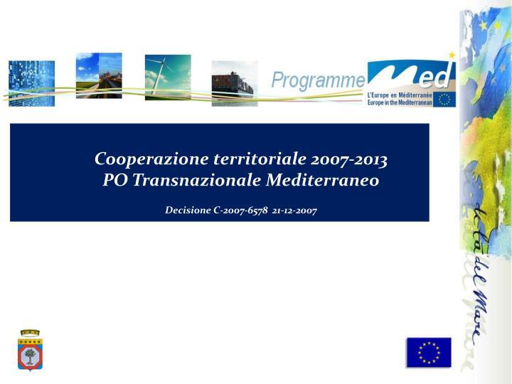 Cooperazione territoriale 2007-2013
