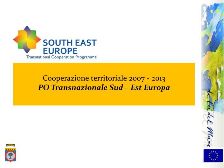 Cooperazione territoriale 2007 - 2013