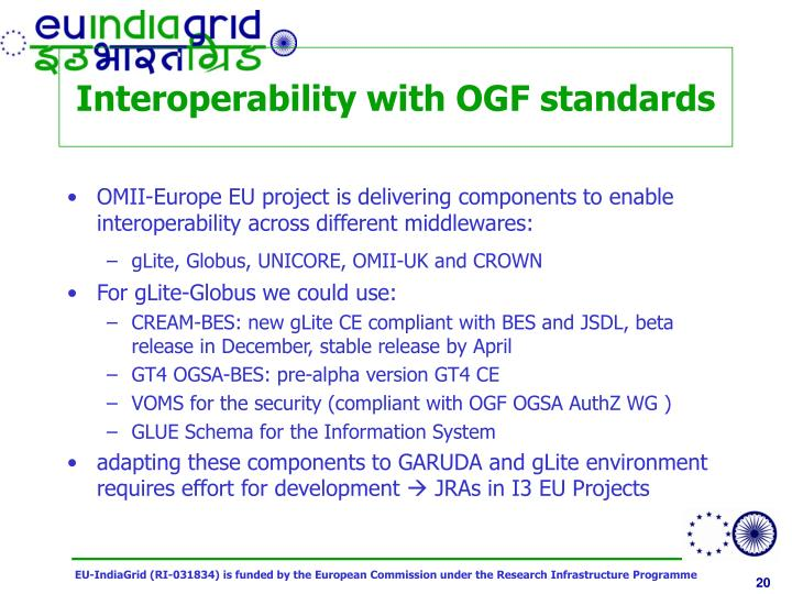 Interoperability with OGF standards