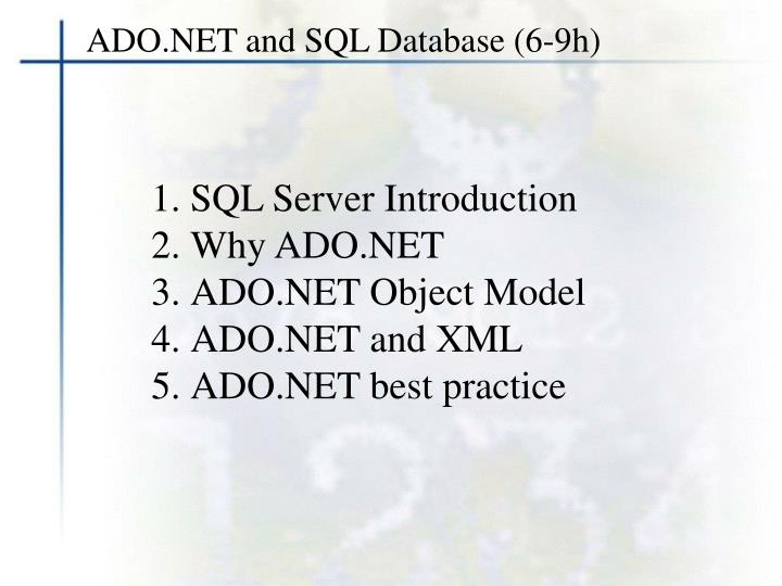 ADO.NET and SQL Database (6-9h)