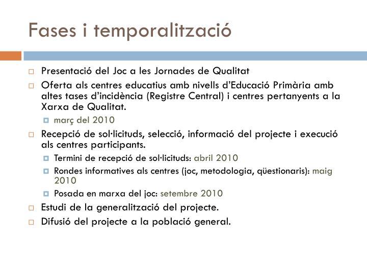 Fases i temporalització