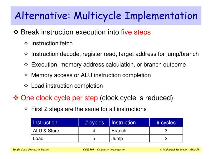 Alternative: Multicycle Implementation