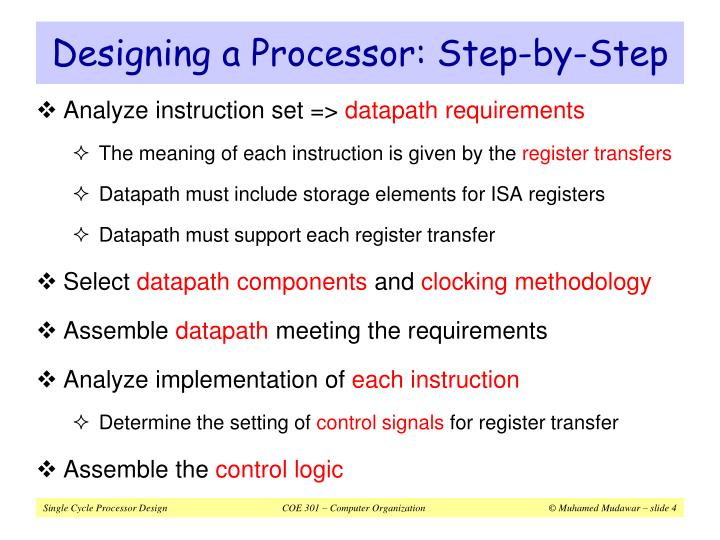 Designing a Processor: Step-by-Step