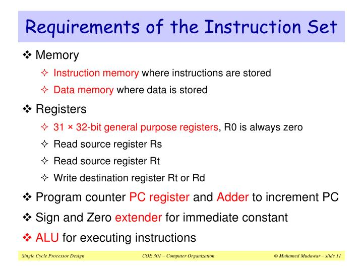 Requirements of the Instruction Set